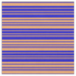 [ Thumbnail: Brown & Blue Lines/Stripes Pattern Fabric ]