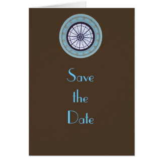 Brown & Blue Modern Save the Date Card
