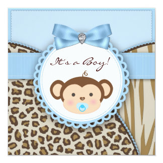 "Brown Blue Monkey Baby Boy Shower 5.25"" Square Invitation Card"