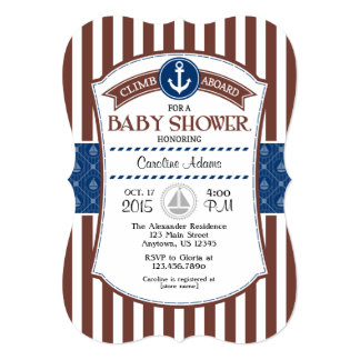 Brown Blue Nautical Baby Shower Invitation