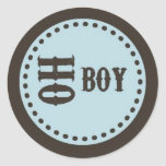 Brown & Blue Oh Boy Baby Shower Sticker