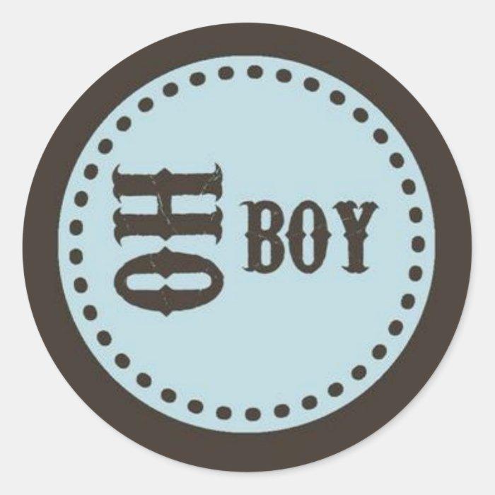 Brown & Blue Oh Boy Baby Shower Sticker | Zazzle