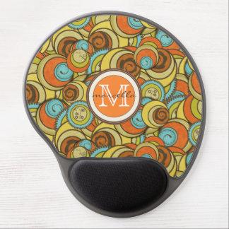 Brown Blue Orange Circles Monogram Gel Mouse Pad