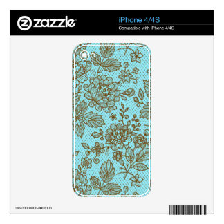 Brown & Blue Ornate Retro Flowers Shading Pattern Decals For iPhone 4S