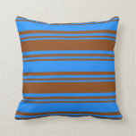[ Thumbnail: Brown & Blue Pattern Throw Pillow ]