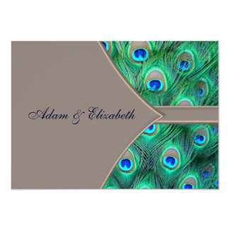 Brown Blue Peacock Wedding Invitations