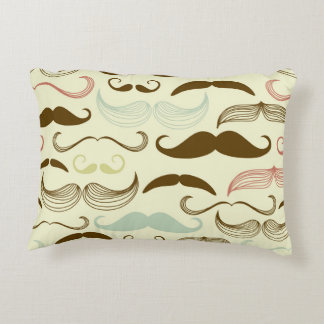 Brown, Blue & Pink Mustaches Accent Pillow
