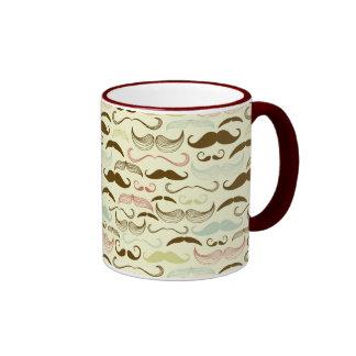 Brown, Blue & Pink Mustaches Coffee Mug