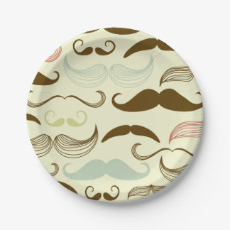 Brown, Blue & Pink Mustaches Paper Plate