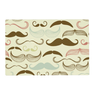 Brown, Blue & Pink Mustaches Placemat