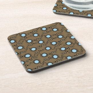 Brown blue polka dot pattern beverage coaster