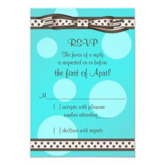 Brown Blue Polka Dot Ribbon Bat Mitzvah Reply Card