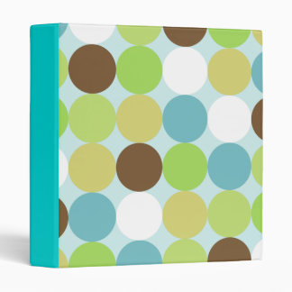 Brown blue polka dots binder