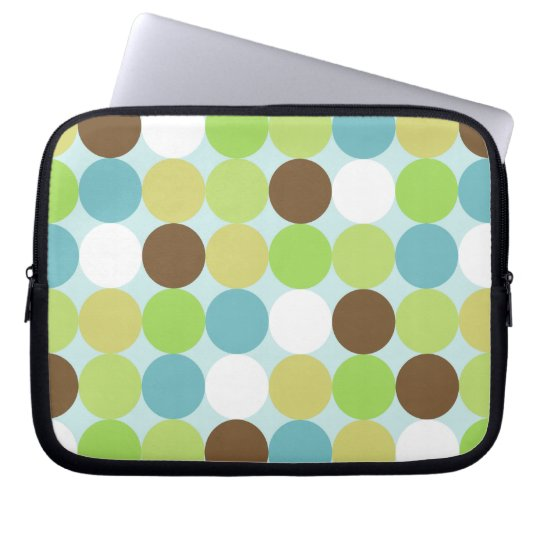 Brown blue polka dots computer sleeve
