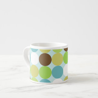 Brown blue polka dots espresso cup
