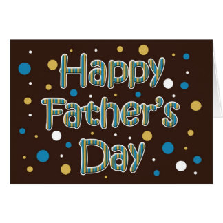 brown blue polka dots Father's Day greetings Card