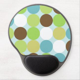 Brown blue polka dots gel mouse pad
