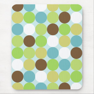 Brown blue polka dots mouse pad
