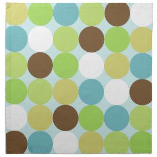 Brown blue polka dots napkin