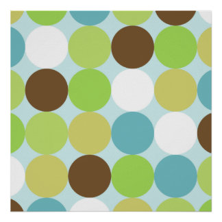 Brown blue polka dots posters