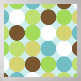 Brown blue polka dots posters