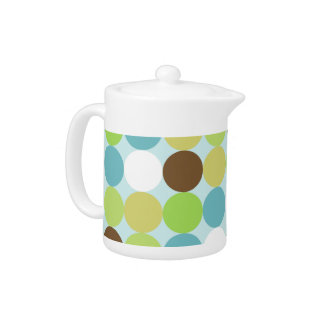 Brown blue polka dots teapot