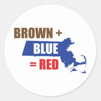 Brown + Blue = Red Classic Round Sticker