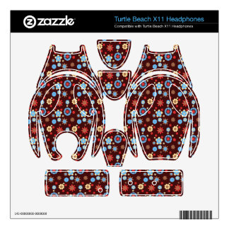 Brown Blue red flowers daisy pattern Turtle Beach X11 Skin