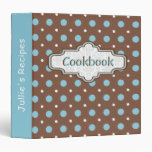 Brown, blue retro polka dot cute recipe vinyl binders