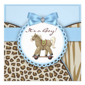 Brown Blue Rocking Horse Baby Boy Shower Personalized Invitation