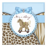 Brown Blue Rocking Horse Baby Boy Shower 5.25x5.25 Square Paper Invitation Card