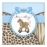 Brown Blue Rocking Horse Baby Boy Shower Invitation