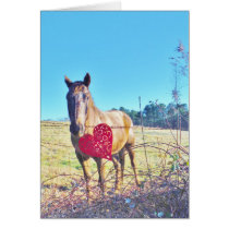 Brown Blue tinted Horse Red Heart Card