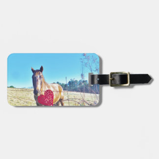 Brown Blue tinted Horse Red Heart Luggage Tag