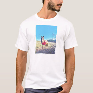 Brown Blue tinted Horse Red Heart T-Shirt