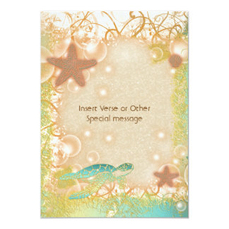 Brown blue turtle starfish wedding personalized invites