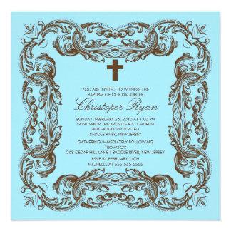 Brown Blue Vintage Frame Baptism Invitation