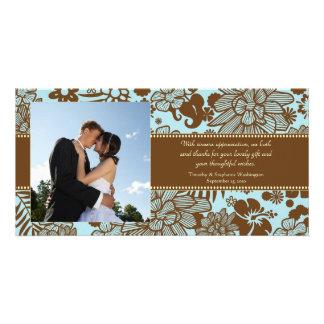 Brown blue whimsical wedding thank you photocard card