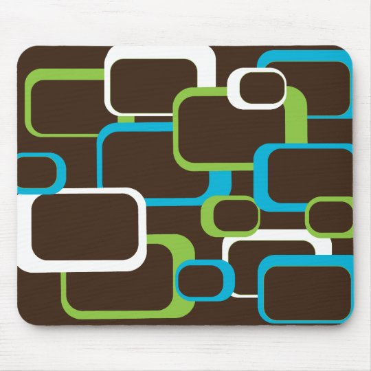brown blue white green retro squares mouse pad