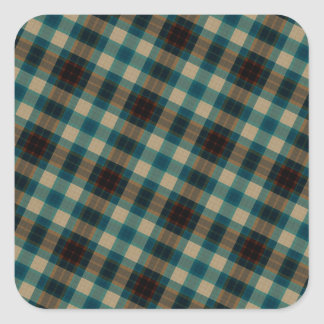 Brown Blue White Plaid Pattern Square Sticker