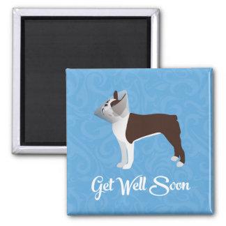 Brown Boston Terrier consigue diseño del pozo Imán Cuadrado