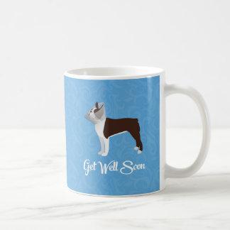 Brown Boston Terrier Get Well Soon Design Coffee Mug