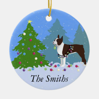 Brown Boston Terrier in Christmas Forest Ceramic Ornament