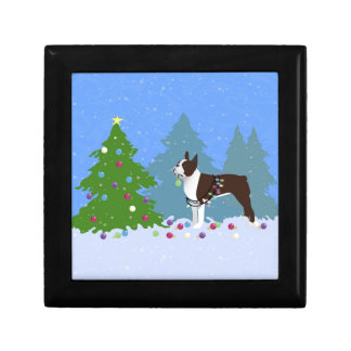Brown Boston Terrier in Christmas Forest Jewelry Box