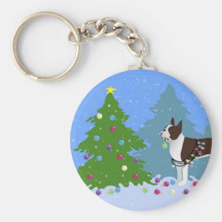 Brown Boston Terrier in Christmas Forest Keychain