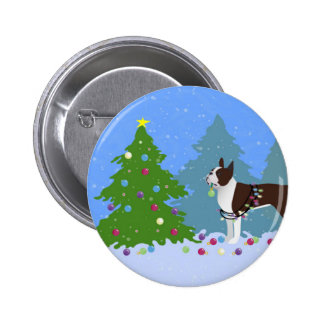 Brown Boston Terrier in Christmas Forest Pinback Button