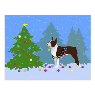 Brown Boston Terrier in Christmas Forest Postcard