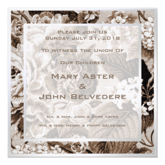 Brown Botanical Floral Invitation Announcement