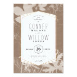 Brown botanical print wedding invitation, sunprint card