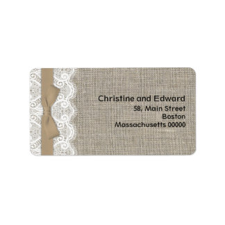 Brown Bow and Lace Address Labels